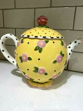 Mary Engelbreit Me Ink 1997 Ceramic Yellow and Pink Flower and Polka Dot Teapot
