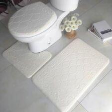 Memory Foam Bath Mat U Shape Bathroom Toilet Floor Home Decoration Rug 3Pcs Set