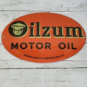 VINTAGE OILZUM MAN GASOLINE PORCELAIN SIGN OIL MOTOR SERVICE STATION PUMP PLATE