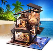 DIY LED Light Valencia Coastal Villa Doll House Miniatures Furniture Gift Kit