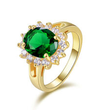 Luxury Jewellry Size 9 Womens 18K Gold Filled Emerald For Wedding Fashion Rings