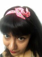 Bandeau foulard cheveux rigide cordon maléable rose pois verts pinup rétro glam