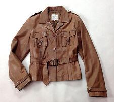 VTG 70s 80s CORTY BENNETT Brown Lambskin Leather Belted Jacket Coat M 8 10