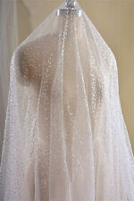 "Vintage 55"" Wide Beaded Bridal Lace Fabric Ivory Sequin Wedding Lace 1/2 Yard"