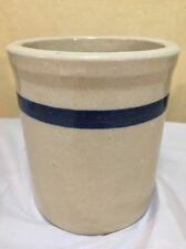 "Vintage Blue Band Crock Jar Pottery Stoneware 5.5"" Kitchen Decor Container"