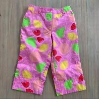 Lilly Pulitzer Pink Fruit Cropped Lined Pants Girl Size 6 Spring Summer Lemons