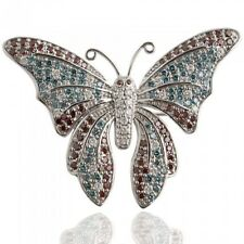 2.80 Ct Butterfly Pin Brooch Natural Colored Diamond 14k White Gold Lady's