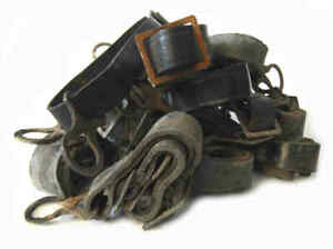WW1 German Chinstrap M17 M16 Helmet Black Leather & Steel Fittings Aged WWI M18