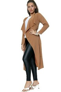 Womens Ladies Long Sleeve Maxi  Belted waterfall Duster Jacket Coat S/M-M/L- XL