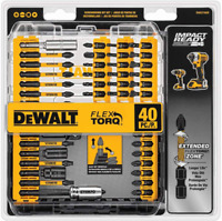 DEWALT Screwdriver Bit Set, Impact Ready, FlexTorq, 40-Piece (DWA2T40IR),Black/S