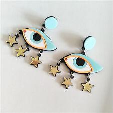Fashion Women Nightclub Acrylic Cool Eye Star Tassel Earrings Hip-Hop Oversized
