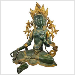 Riesige Grüne Tara Messing 65cm 29kg Buddha Weiße Tara Sitatara Maya Devi