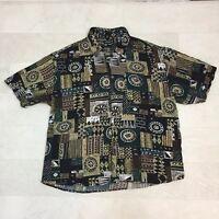 Portofino Mens Shirt Size XL Brown Green Geometric Tribal Print Hawaiian Aloha