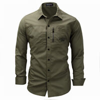 Mens Military Shirts Long Sleeve Cargo Slim Fit Army Tactical Combat Work Shirt