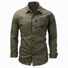 Camisas de manga larga para hombre militar carga Calce Ajustado Camisa De Trabajo ejército Táctica de Combate