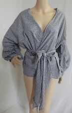NAVY BLUE WHITE 1X CHECKED GINGHAM WRAP BOW TIE RUFFLE OFF SHOULDER BLOUSE shirt