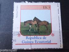 GUINEE EQUATORIALE, timbre THEME CHEVAUX, HORSES, NONIUS FOALS, oblitéré