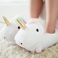 1Pair Girls Soft Plush Unicorn Led Light Up Slippers Fluffy Warmer Shoes Winter