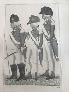 Orig. 19thC  John Kay Engraving Three Officers Of The Hopetoun Fencibles