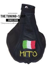 FITS ALFA ROMEO Mito 2008-15 LEATHER GEAR BOOT COVER Embroidery Italian Flag New