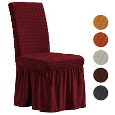 1/4/6/8Pcs Spandex Bubble Lattice Chair Covers Ruffled Seat Slipcover Protectors