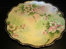 "Old Large Hand Painted Flowers Decorated 12"" Porcelain Charger"