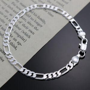 925 sterling Silver 4MM Chain Bracelet for women wedding cute party lady nice