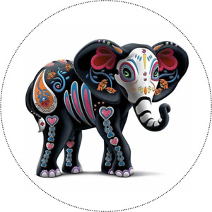 """SUGAR SKULL ELEPHANT ~ Edible Icing Cake Topper 7.5"""" ROUND Day of the Dead"""