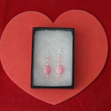 Beautiful Earrings With Pink Morganite And Crystal 2.3 Gr.3.5 Cm. Long + Hooks