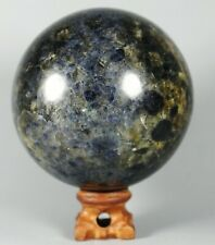 Very Rare Blue AZURITE in K2 JASPER Granite Sphere Ball w/Rosewood Madagascar