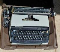 Smith Corona Super Correct Typewriter Blue W Case Portable Electronic Works