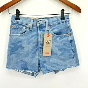 Levis Camo Print Button Fly Raw Hem 501 High Rise Shorts New Size 24