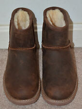 Emu Australia Girls Brown Sheepskin Waterproof Ankle Boots Size: W-F5/M-H4