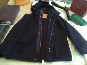 NWT £1550 Corneliani LK Kiton Cucinelli dark navy hooded wool jacket UK 46 EU 56