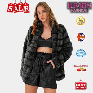 Women Fluffy Fur Jacket Warm Overcoat Outerwear Ladies Coat- DARK GREY