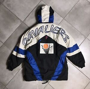 VTG 90s Cleveland Cavaliers NBA Pro Player Puffer Trench Coat Adult Sz L RARE