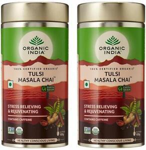 2 Pack x 100 gm Organic India Tulsi Masala Chai - Free Shipping