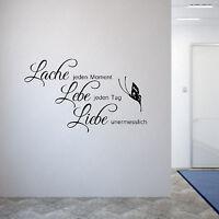 Wandschnörkel Wandtattoo Wohnzimmer Spruch Lache...Lebe...Liebe...Spruch