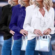 Women Plus Size Top Tee Shirt Ruffle Plain Basic Long Sleeve Button Down Blouse