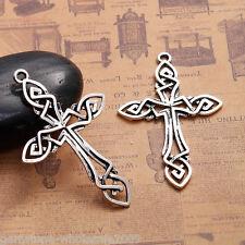 5PCs Sliver Tone Hollow Out Celtic Cross Alloy Pendant For Bracelet&Necklace GW