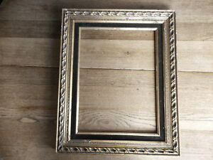 """VINTAGE GOLD GESSO PICTURE FRAME  apx 13 X 15""""? PHOTO VELVET TRIM AS IS"""