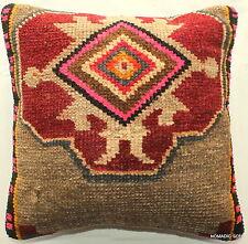 (40*40cm, 16inch) Woven handmade carpet cushion brown beige reg rug