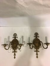 Pair of Antique Victorian Style Ornate Double Arm Wall Light Scone,crystal prism