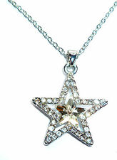 GORGEOUS SILVER WHITE CRYSTAL SPARKLE PRINCESS STAR PENDANT NECKLACE