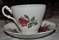 Royal Ascot Bone China Tea Cup & Saucer England Red Roses