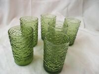 Vintage 6 Anchor Hocking Green Tumblers Juice Glasses Soreno