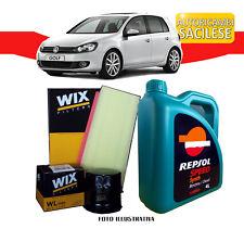 KIT TAGLIANDO VW GOLF VI 1.6 TDI 77/66 kw '09>'12 2 FILTRI WIX 5 L. OLIO REPSOL