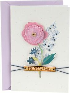 Hallmark Sympathy Card by Signature ~ Comfort & Peace Flower with Wooden Decor