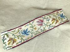 More details for antique crewel work tapestry border panel jacobean hand sewn embroidery floral