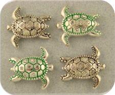 2 Hole Beads Sea Turtles Loggerhead Silver+Clear Crystals OCEAN Sand BEACH QTY 4